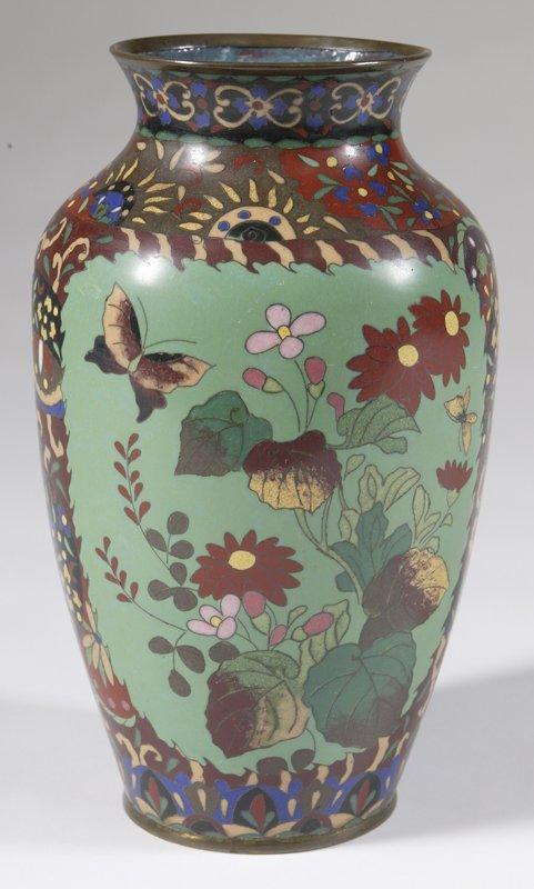 460: Fine Jade Colored Japanese Cloisonne Vase