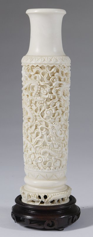 465: Chinese Carved Ivory Dragon Vase