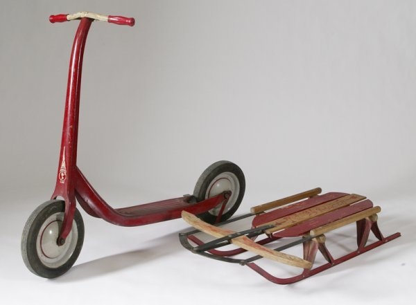 326: 1950's Scooter & Toy Sled