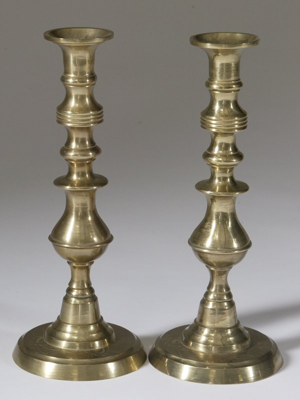 7: Pair of 20th C. Mexican Brass Candlesticks