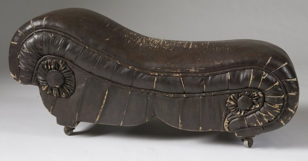 11: 19th C. Salesman Sample Leather Fainting Couch