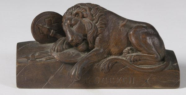 """16: """"The Lion of Lucerne"""" Carving"""