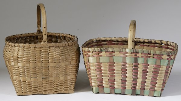 19: 2 Early 20th C. American Woven Market Baskets
