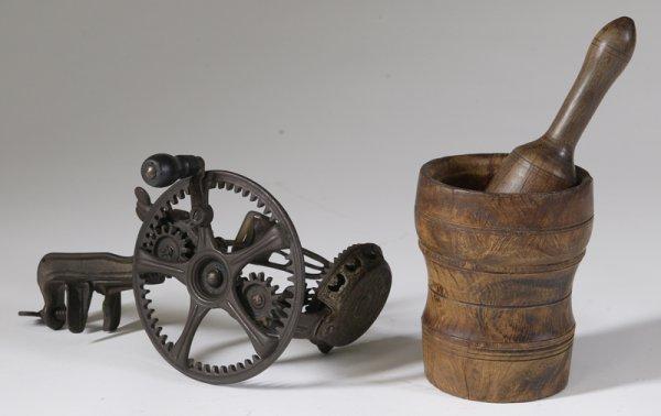 24: 19th C. Mortar & Pestle with an Apple Peeler
