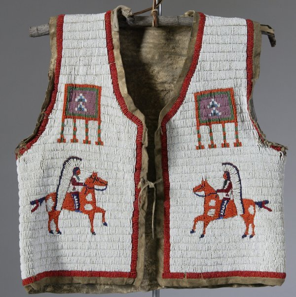 331: Sioux Indian Fully Beaded Child's Vest on Leather