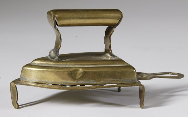 28: 18th C. Miniature Brass Iron & Trivet
