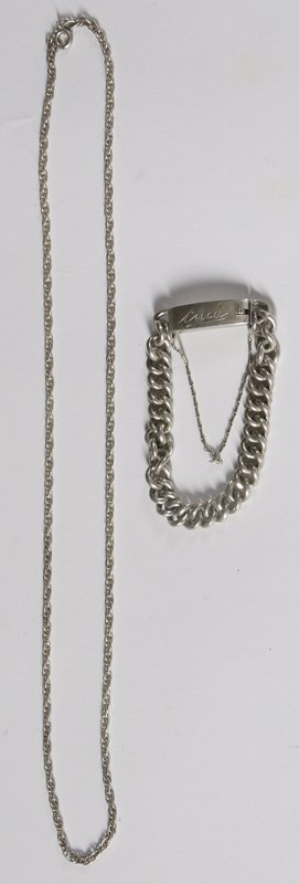 46: Mexican Silver I.D. Bracelet & Silver Chain