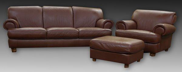 10: Modern Brown Natuzzi Leather Sofa & Armchair