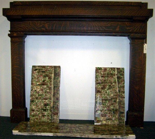 12: Antique Oak Fireplace Surround with Ceramic Tiles