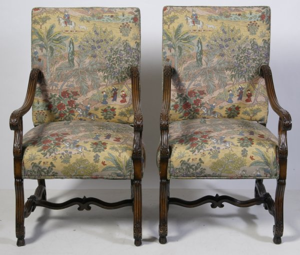13: Pair of Antique French Upholstered Chairs