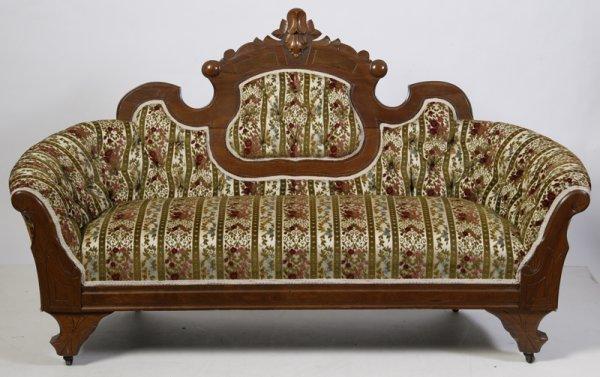 14: Antique Eastlake Upholstered Settee
