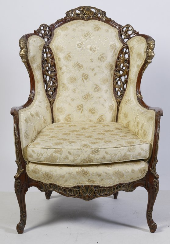 16: Antique Louis XV Style Upholstered Bergere