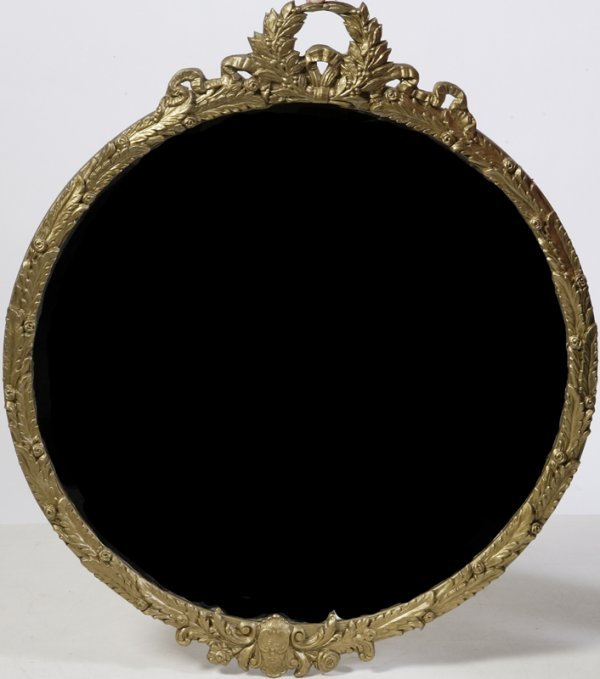 18: Large Antique Carved Wood Gilt Circular Mirror