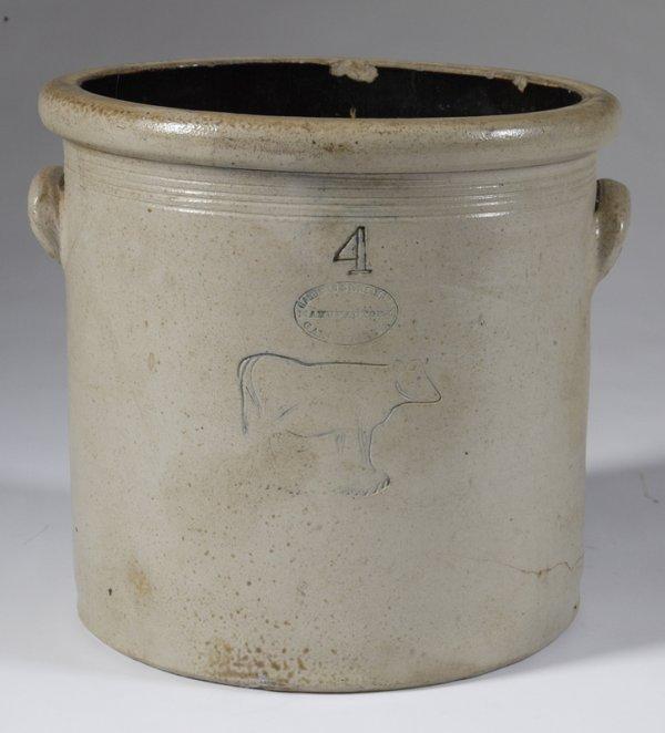 240: Antique Stoneware Crock, Gardiner, Maine