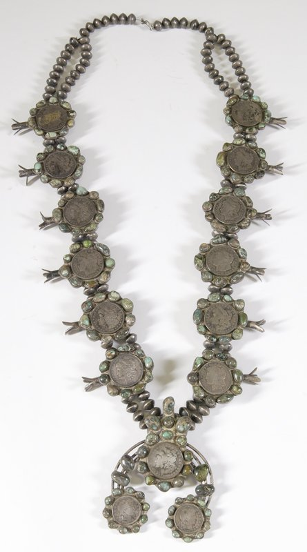 257: Massive Indian Silver Dollar Squash Blossom Neckla