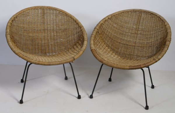 457: Pair of Ovid Form Wicker and Metal Armchairs