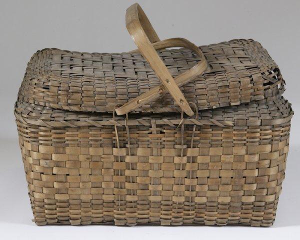 459: Vintage Covered Picnic Basket