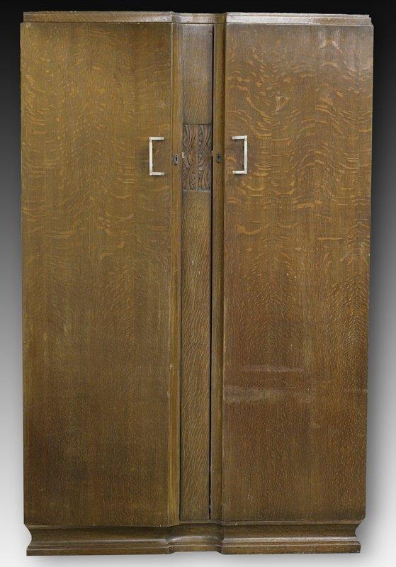 466: English Art Deco Walnut Wardrobe Cabinet