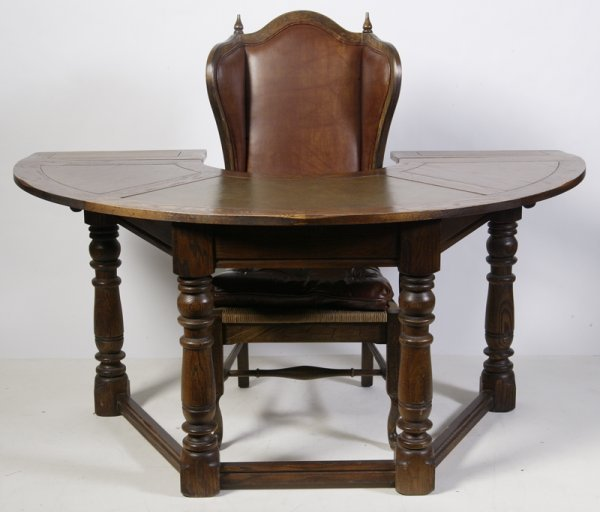 471: Early 20th C. Circular Judges Desk & Chair