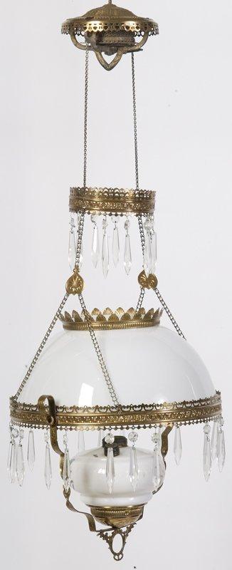 478: Antique Brass Hanging Oil Lamp