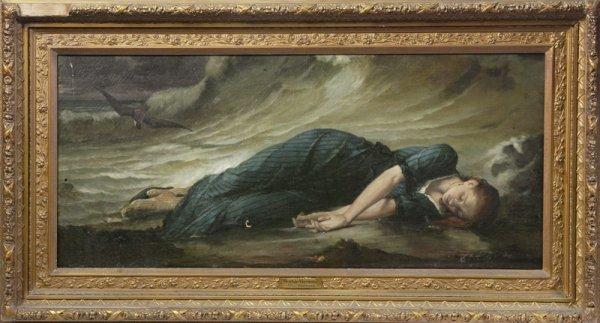 "516: After Betrand, Oil on Canvas; ""Mort de Virginie"""
