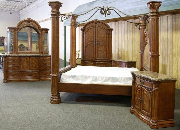 12: Aico Monte Carlo Pecan Finish King Bedroom Set