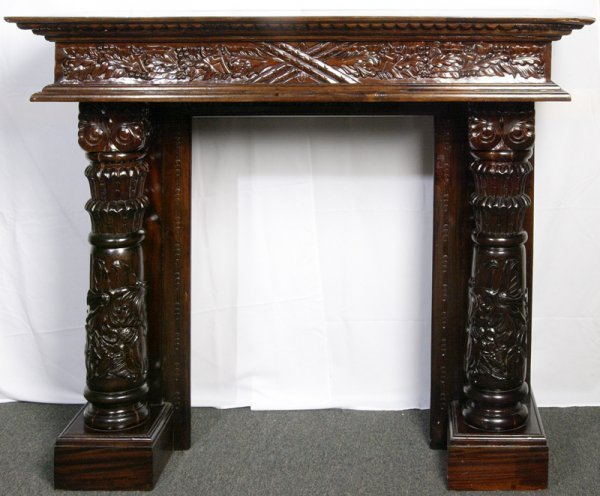 14: Victorian Carved Wood Fireplace Mantle