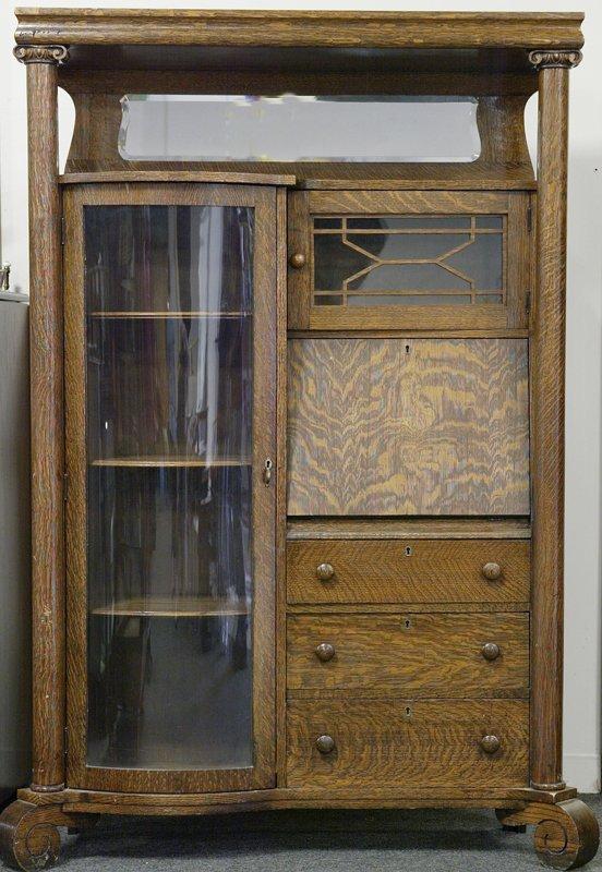 17: Antique Oak Side by Side Secretary/Bookcase