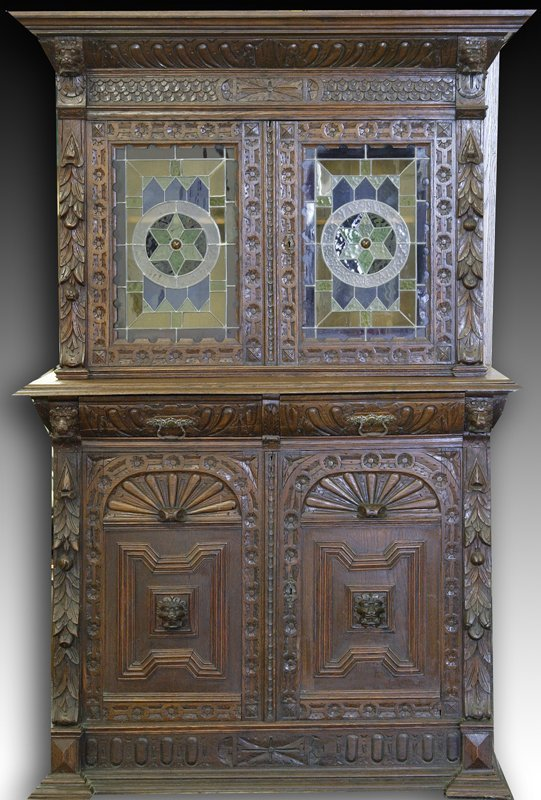 19: Exceptional L. 19th C. Gothic Revival Cabinet & Hut