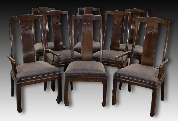 22: 8 Chippendale Style Chinese Dining Chairs