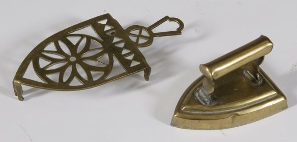 3: 18th C. Miniature Brass Iron & Trivet