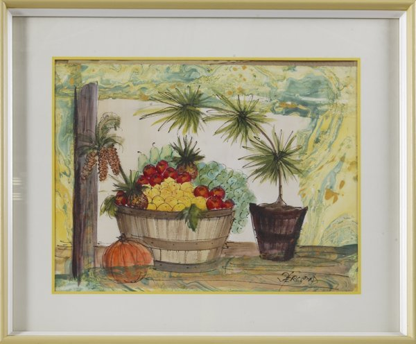 8: 20th C. Watercolor on Paper; Still Life