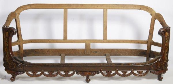 20: Exceptional 19th C. Dutch Marquetry Sofa Frame