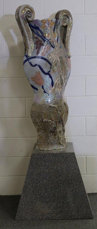 86: Monumental Kemenyffy Raku Vase and Stand