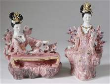 248: Pair of Japanese Porcelain Geisha Figurines