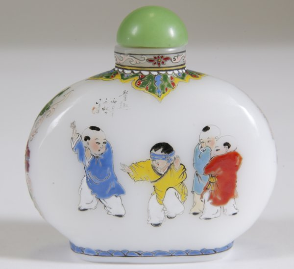 12: Very Fine Chinese Enameled Glass Snuff Bottle
