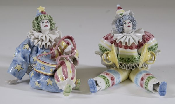 163: 2 Made in Italy for Gumps Ceramic Clowns