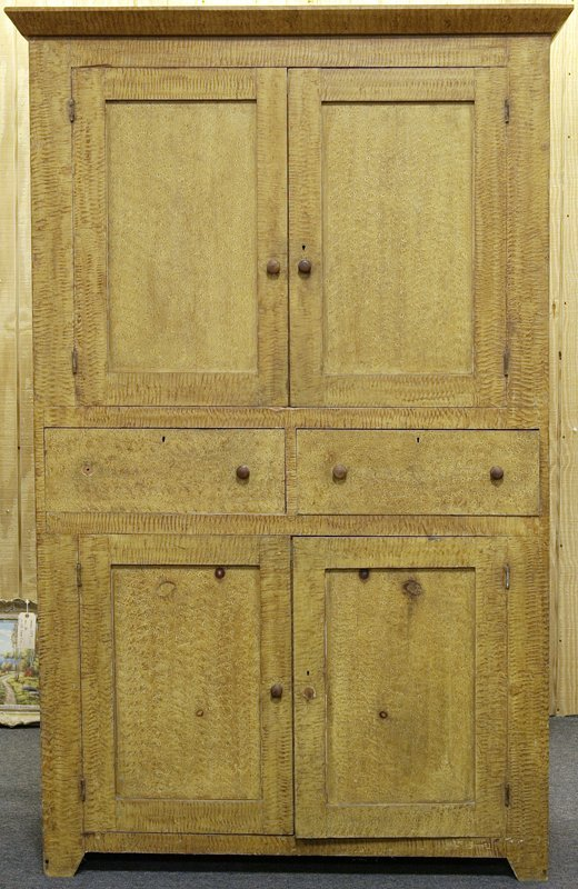 625: Exceptional 19th C. Grain Painted Cupboard