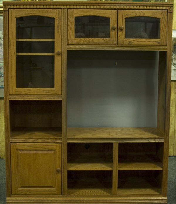 2: Large Medium Oak Entertainment Center
