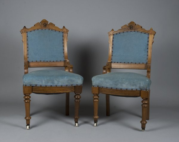 3: Pair of Eastlake Walnut Side Chairs w/ Carved Masks
