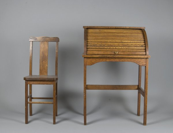 6: Antique Child's Roll Top Desk & Chair