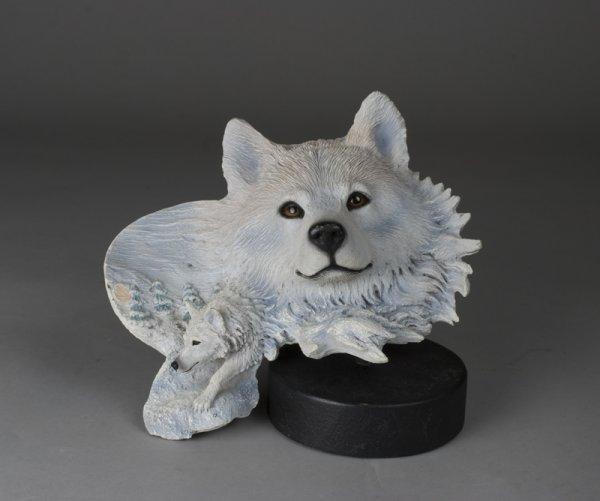 17: Arctic Son White Wolf Rick Cain Sculpture