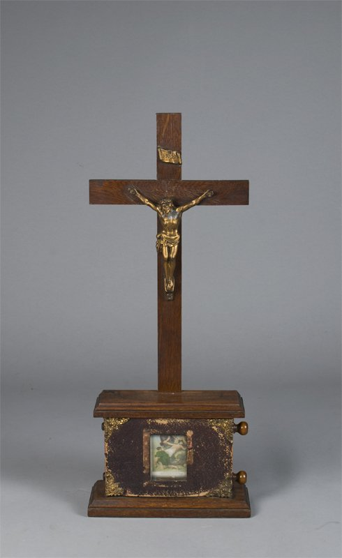 19: Fine Antique Wooden Cross Box with Photos