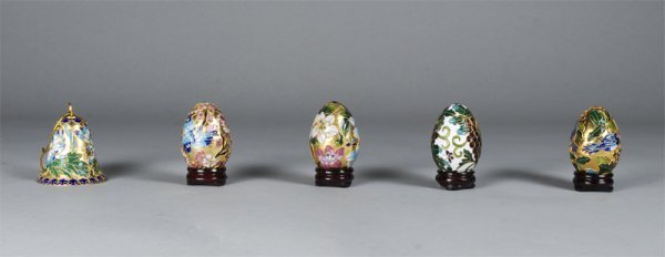 23: Five Piece Collection Cloisonne Eggs & Bell