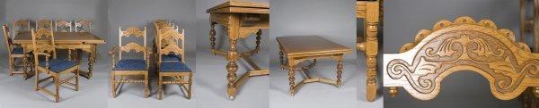 511: 7 Piece Oak Jacobean Style Dining Set