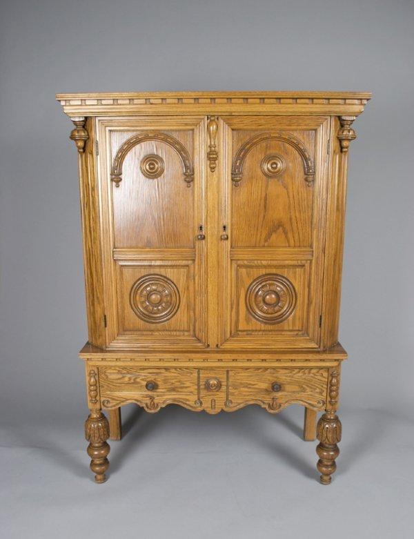 512: Jacobean Style Oak Cupboard/Wine Cabinet