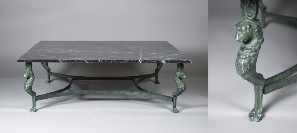 519: Exceptional Marble and Bronze Coffee Table