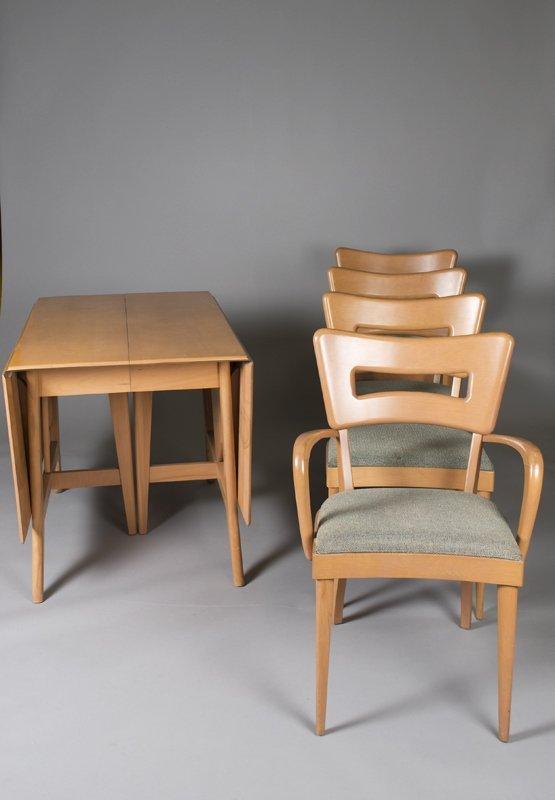 520: Heywood Wakefield Drop Leaf Table, Chairs & Leaves