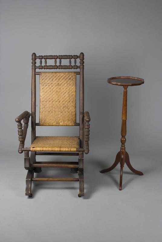 1: Antique Rocker on Wheels and Plant Stand