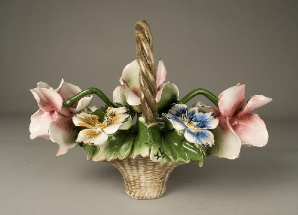 12: Capodimonte Porcelain Floral Basket